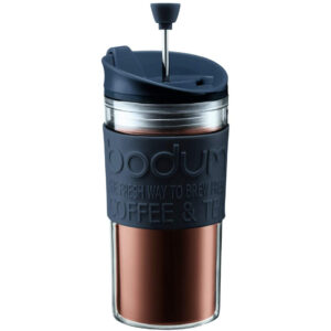 BODUM Travel Press Set Coffee Maker with Extra Lid, 0.35 L/12 oz - Black