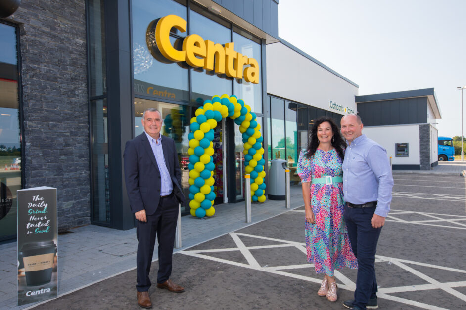 Centra opening in Toome Musgrave MD Trevor Magill with owners of Centra Toome Ciara and Ryan Cathcart.