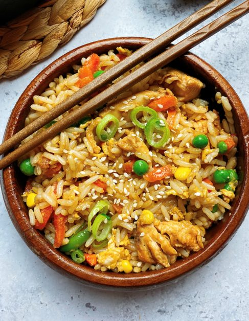 Chicken and vegetable egg fried rice.